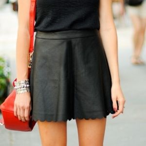 Club Monaco Colleen Faux Leather Scalloped Skirt